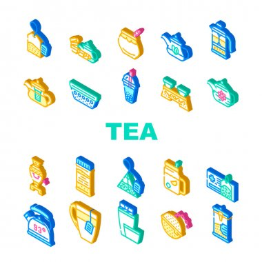 Tea Healthy Drink Collection Icons Set Vector. Ceremony Table And Dish For Drinking Healthcare Tea, Teapot And Cup, Bag And Mesh Of Beverage Isometric Sign Color Illustrations icon