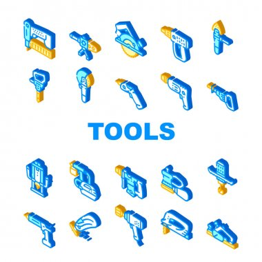 Tools For Building Collection Icons Set Vector. Jigsaw And Jackhammer, Neiler And Electric Planer, Spray Gun And Wrench, Flazer And Mixer Tools Isometric Sign Color Illustrations icon