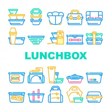Lunchbox Dishware Collection Icons Set Vector. Backpack And For Women Lunchbox And Thermos, Vacuum And Folding, For Vintage And Sports Concept Linear Pictograms. Contour Color Illustrations icon