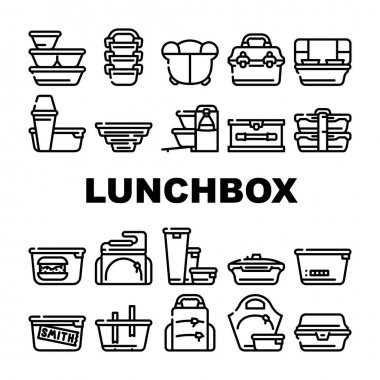 Lunchbox Dishware Collection Icons Set Vector. Backpack And For Women Lunchbox And Thermos, Vacuum And Folding, For Vintage And Sports Black Contour Illustrations icon