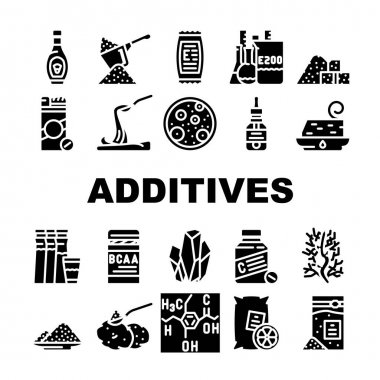Food Additives Formula Collection Icons Set Vector. Corn Syrup And Sugar Substitute, Chemical Inventory And Amino Acids Food Additives Glyph Pictograms Black Illustrations icon