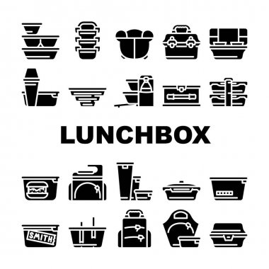 Lunchbox Dishware Collection Icons Set Vector. Backpack And For Women Lunchbox And Thermos, Vacuum And Folding, For Vintage And Sports Glyph Pictograms Black Illustrations icon