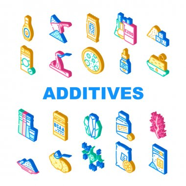 Food Additives Formula Collection Icons Set Vector. Corn Syrup And Sugar Substitute, Chemical Inventory And Amino Acids Food Additives Isometric Sign Color Illustrations icon