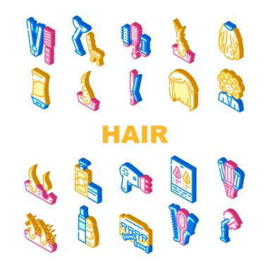 Healthy Hair Treatment Collection Icons Set Vector. Stationery Hairdryer And Dandruff, Shampoo And Balm For Hair, Thermo Curlers And Wig Isometric Sign Color Illustrations icon
