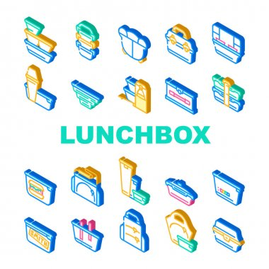 Lunchbox Dishware Collection Icons Set Vector. Backpack And For Women Lunchbox And Thermos, Vacuum And Folding, For Vintage And Sports Isometric Sign Color Illustrations icon