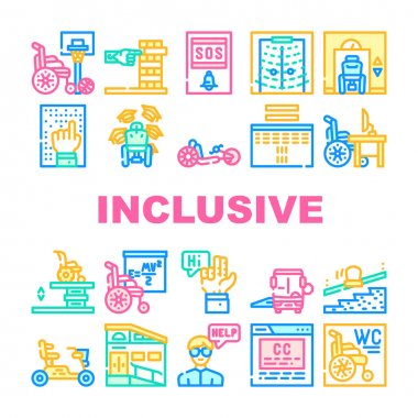 Inclusive Life Tool Collection Icons Set Vector. Graduation And Working Place, SportLife And Communication, Bus And Velomobile Inclusive Life Concept Linear Pictograms. Contour Color Illustrations icon