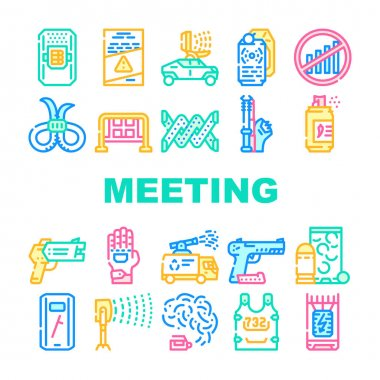 Protests Meeting Event Collection Icons Set Vector. Microwave Gun And Traumatic Gun, Water Jet And Body Armor Protests Equipment Concept Linear Pictograms. Contour Color Illustrations icon