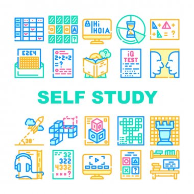Self Study Lessons Collection Icons Set Vector. Self Study Audiobook And Video Lessons, Chess And Crossword Game, Modeling And Iq Test Concept Linear Pictograms. Contour Color Illustrations icon