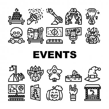 Events And Festival Collection Icons Set Vector. Rock And Oktober Fest, Standup And Pool Party, Fantasy Costume And Facial Mask Events Black Contour Illustrations icon