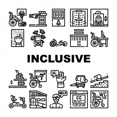 Inclusive Life Tool Collection Icons Set Vector. Graduation And Working Place, SportLife And Communication, Bus And Velomobile Inclusive Life Black Contour Illustrations icon