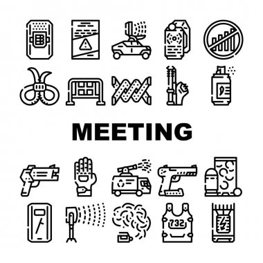 Protests Meeting Event Collection Icons Set Vector. Microwave Gun And Traumatic Gun, Water Jet And Body Armor Protests Equipment Black Contour Illustrations icon