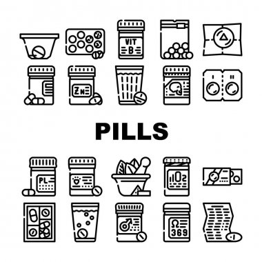 Pills Medicaments Collection Icons Set Vector. Pills Package And Glass With Water, Instruction And Pillbox Container, Medical Treatment Black Contour Illustrations icon