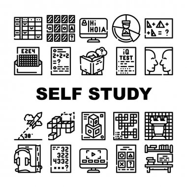 Self Study Lessons Collection Icons Set Vector. Self Study Audiobook And Video Lessons, Chess And Crossword Game, Modeling And Iq Test Black Contour Illustrations icon