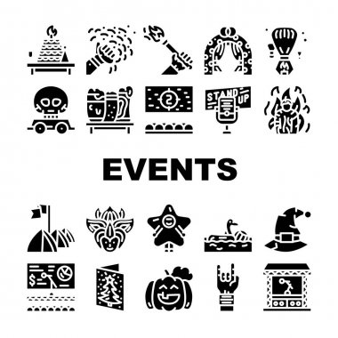 Events And Festival Collection Icons Set Vector. Rock And Oktober Fest, Standup And Pool Party, Fantasy Costume And Facial Mask Events Glyph Pictograms Black Illustrations icon