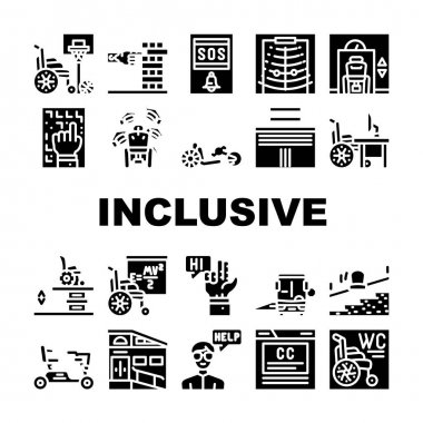 Inclusive Life Tool Collection Icons Set Vector. Graduation And Working Place, SportLife And Communication, Bus And Velomobile Inclusive Life Glyph Pictograms Black Illustrations icon