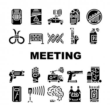 Protests Meeting Event Collection Icons Set Vector. Microwave Gun And Traumatic Gun, Water Jet And Body Armor Protests Equipment Glyph Pictograms Black Illustrations icon