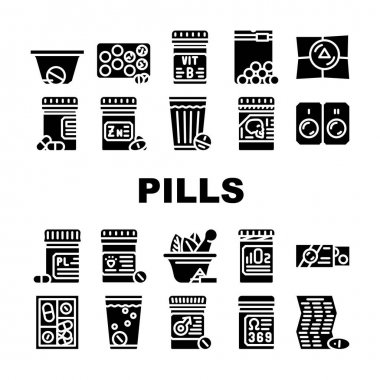 Pills Medicaments Collection Icons Set Vector. Pills Package And Glass With Water, Instruction And Pillbox Container, Medical Treatment Glyph Pictograms Black Illustrations icon