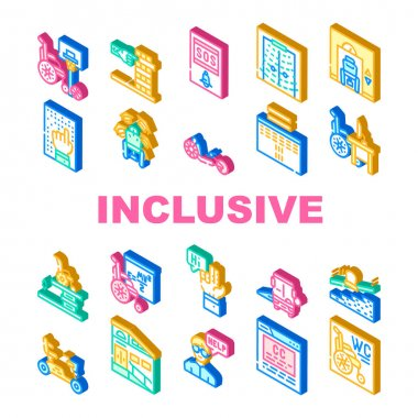 Inclusive Life Tool Collection Icons Set Vector. Graduation And Working Place, SportLife And Communication, Bus And Velomobile Inclusive Life Isometric Sign Color Illustrations icon