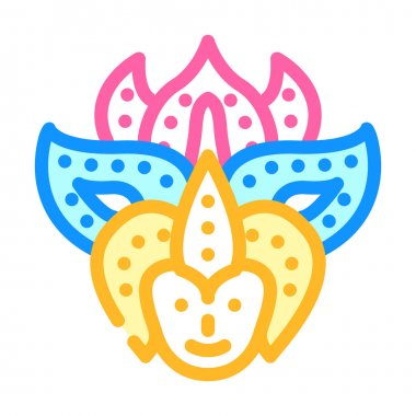 Festival mask color icon vector. festival mask sign. isolated symbol illustration icon