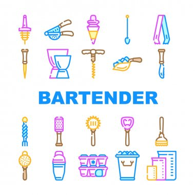 Bartender Accessory Collection Icons Set Vector. Bar Spoon And Grater, Juicer And Ice Breaker, Cocktail Shaker And Jiggers Bartender Tools Concept Linear Pictograms. Contour Illustrations icon