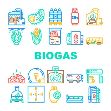 Biogas Energy Fuel Collection Icons Set Vector. Biogas Refueling Station And Cylinder, Corn And Algae Natural Ingredient Of Gas, Methane And Hydrogen Concept Linear Pictograms. Contour Illustrations icon
