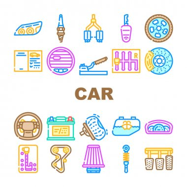 Car Vehicle Details Collection Icons Set Vector. Car Headlight And Airbag, Manual And Automatic Transmission, Filter And Exhaust, Wheel And Battery Concept Linear Pictograms. Contour Illustrations icon