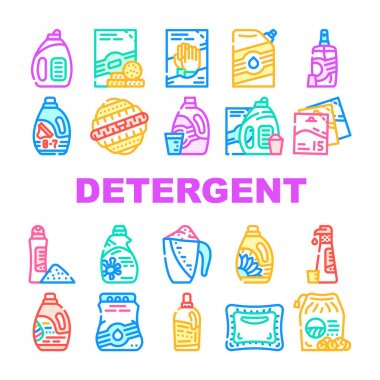 Detergent Washing Collection Icons Set Vector. Detergent Pods And Liquid, Laundry Ball And Pills, Organic Soap And Powder Bag Package Concept Linear Pictograms. Contour Illustrations icon