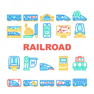 Railroad Transport Collection Icons Set Vector. Train Wagon Restaurant And Carriage, Hyperloop And Maglev, Railroad Limiter And Railway Station Concept Linear Pictograms. Contour Illustrations icon