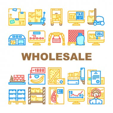 Wholesale Service Collection Icons Set Vector. Sea Transportation And Carrying In Truck, Carton And Wooden Box, Broker Wholesale And Logistics Support Concept Linear Pictograms. Contour Illustrations icon