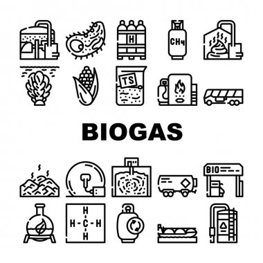 Biogas Energy Fuel Collection Icons Set Vector. Biogas Refueling Station And Cylinder, Corn And Algae Natural Ingredient Of Gas, Methane And Hydrogen Black Contour Illustrations icon