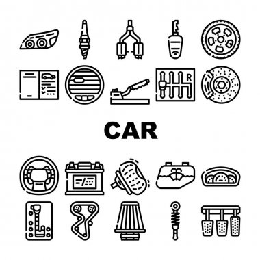 Car Vehicle Details Collection Icons Set Vector. Car Headlight And Airbag, Manual And Automatic Transmission, Filter And Exhaust, Wheel And Battery Black Contour Illustrations icon
