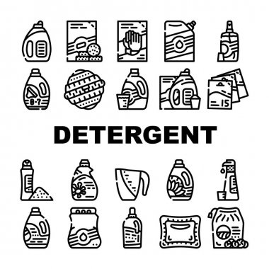Detergent Washing Collection Icons Set Vector. Detergent Pods And Liquid, Laundry Ball And Pills, Organic Soap And Powder Bag Package Black Contour Illustrations icon