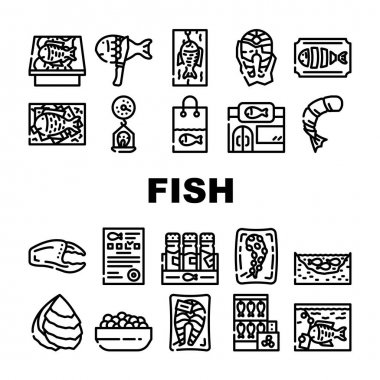 Fish Market Product Collection Icons Set Vector. Smoking And Frozen Fish, Octopus Tentacles And Peeled Shrimp Package, Store Aquarium And Pond Black Contour Illustrations icon