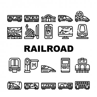 Railroad Transport Collection Icons Set Vector. Train Wagon Restaurant And Carriage, Hyperloop And Maglev, Railroad Limiter And Railway Station Black Contour Illustrations icon