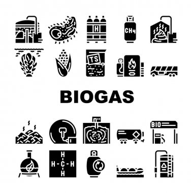 Biogas Energy Fuel Collection Icons Set Vector. Biogas Refueling Station And Cylinder, Corn And Algae Natural Ingredient Of Gas, Methane And Hydrogen Glyph Pictograms Black Illustrations icon