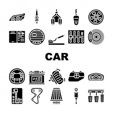 Car Vehicle Details Collection Icons Set Vector. Car Headlight And Airbag, Manual And Automatic Transmission, Filter And Exhaust, Wheel And Battery Glyph Pictograms Black Illustrations icon