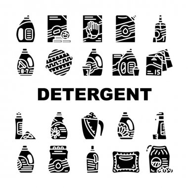 Detergent Washing Collection Icons Set Vector. Detergent Pods And Liquid, Laundry Ball And Pills, Organic Soap And Powder Bag Package Glyph Pictograms Black Illustrations icon