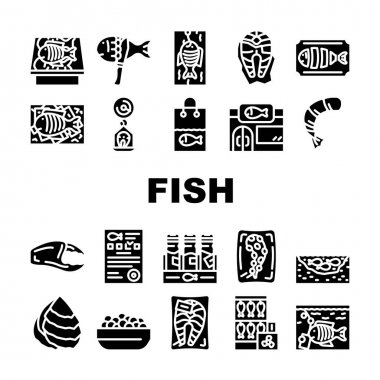 Fish Market Product Collection Icons Set Vector. Smoking And Frozen Fish, Octopus Tentacles And Peeled Shrimp Package, Store Aquarium And Pond Glyph Pictograms Black Illustrations icon