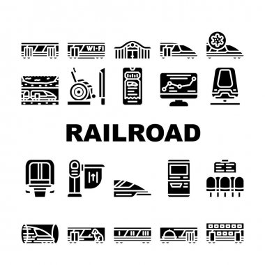 Railroad Transport Collection Icons Set Vector. Train Wagon Restaurant And Carriage, Hyperloop And Maglev, Railroad Limiter And Railway Station Glyph Pictograms Black Illustrations icon