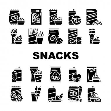 Snacks Food And Drink Collection Icons Set Vector. Dried Bananas And Caramel Fruits, Coconut Chips And Nuts, Donuts And Oatmeal Cookies Snacks Glyph Pictograms Black Illustrations icon