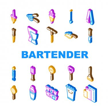 Bartender Accessory Collection Icons Set Vector. Bar Spoon And Grater, Juicer And Ice Breaker, Cocktail Shaker And Jiggers Bartender Tools Isometric Sign Color Illustrations icon