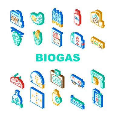 Biogas Energy Fuel Collection Icons Set Vector. Biogas Refueling Station And Cylinder, Corn And Algae Natural Ingredient Of Gas, Methane And Hydrogen Isometric Sign Color Illustrations icon