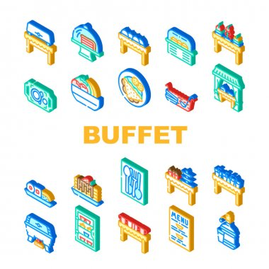 Buffet Food And Drinks Collection Icons Set Vector. Buffet Showcase With Cakes Dessert And Delicious Meal, Water And Punch, Dishware Spoon And Fork Isometric Sign Color Illustrations icon