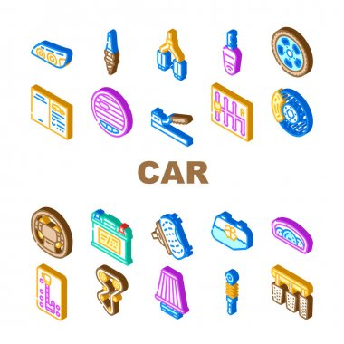 Car Vehicle Details Collection Icons Set Vector. Car Headlight And Airbag, Manual And Automatic Transmission, Filter And Exhaust, Wheel And Battery Isometric Sign Color Illustrations icon