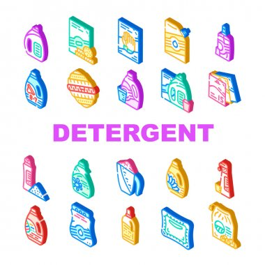 Detergent Washing Collection Icons Set Vector. Detergent Pods And Liquid, Laundry Ball And Pills, Organic Soap And Powder Bag Package Isometric Sign Color Illustrations icon