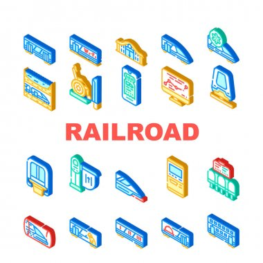 Railroad Transport Collection Icons Set Vector. Train Wagon Restaurant And Carriage, Hyperloop And Maglev, Railroad Limiter And Railway Station Isometric Sign Color Illustrations icon