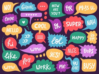Doodle conversation clouds. Dialogue chat bubbles with small talk phrases, think or talk clouds. Hand drawn speech bubbles vector symbols set. Short messages for communication or discussion icon