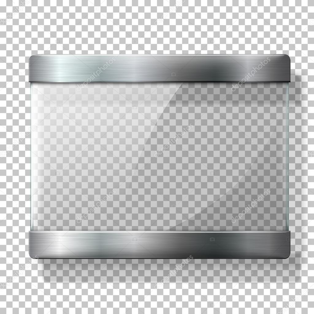 Transparenten Vektor Glasplatte mit Metall-Halter, für Ihre Zeichen ...