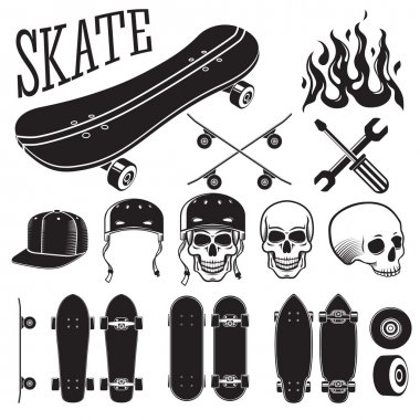 Vector set of skateboarding designer elements. Skates and flames, skull, helmet, cap.