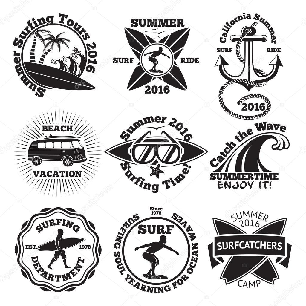 Insieme dell 39 annata surf etichette con tavola da surf for Piani di piantagione hawaiana